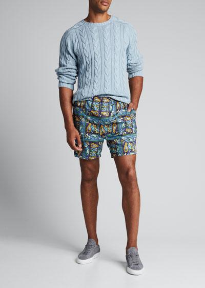 Men's Batik-Print Beach Shorts