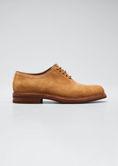 Men's Suede Cap-Toe Oxford Shoes