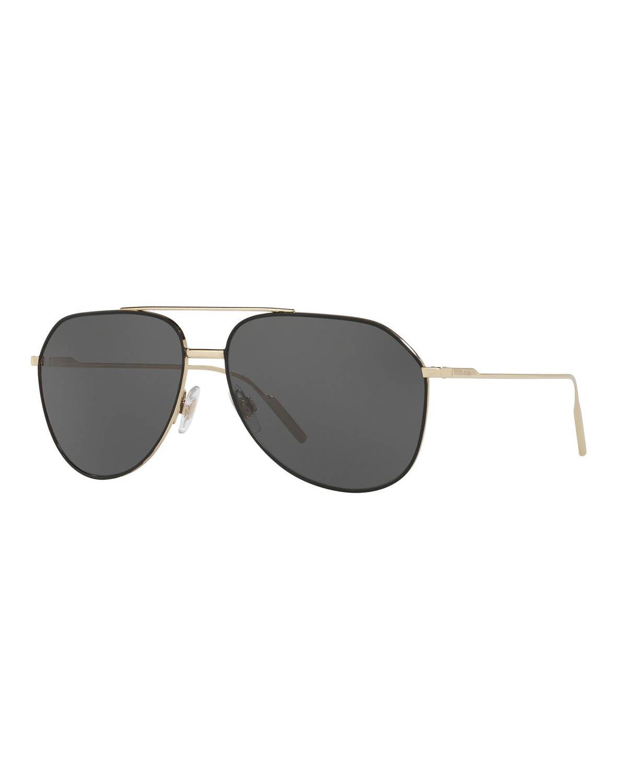 Dolce & Gabbana Sunglasses MEN'S METAL DOUBLE-BRIDGE AVIATOR SUNGLASSES