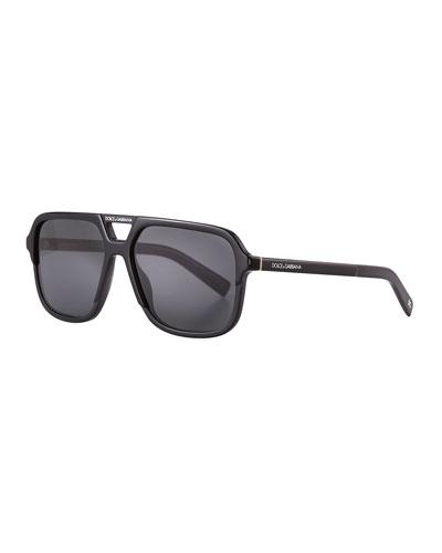 Men's Square Acetate Double-Bridge Sunglasses