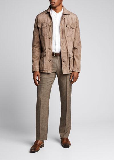 Men's Goat Suede 4-Pocket Safari Jacket