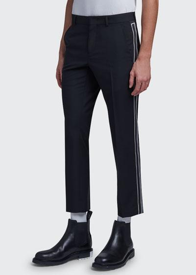 Men's Slim Cropped Side-Stripe Pants