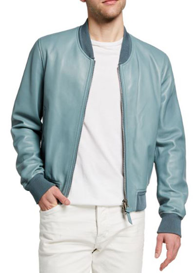 Men's Lamb Leather Bomber Jacket