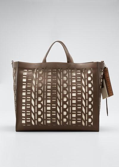 Men's Fendi Laser-Cut Leather Tote Bag