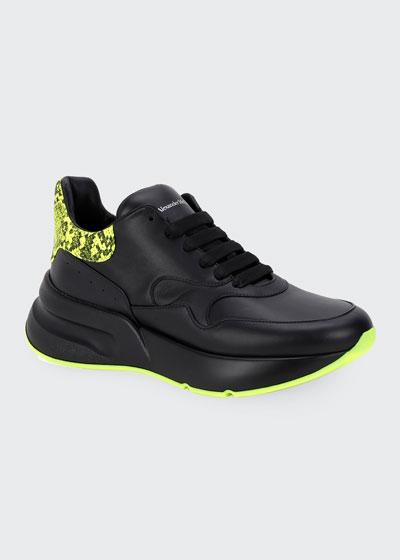 Men's Chunky Runner Sneakers w/ Neon Snake Back