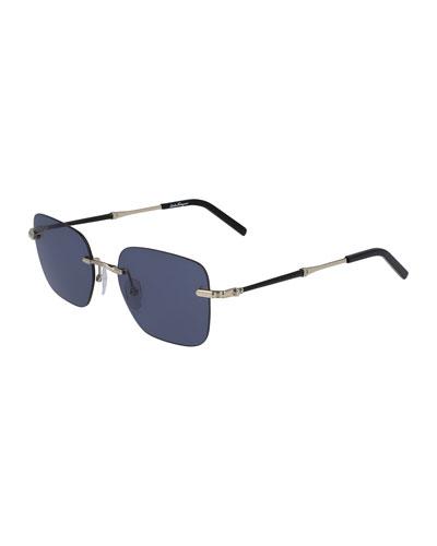 Men's Rimless Square Metal Sunglasses