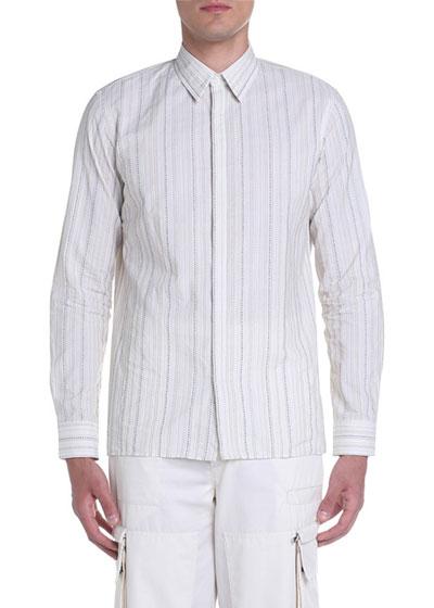 Men's Dot-Stripe Point-Collar Sport Shirt