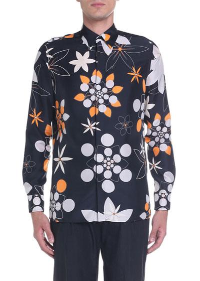 Men's Kaleidoscope Floral Silk Sport Shirt