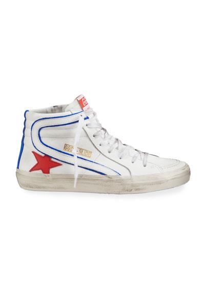 Men's Slide Vintage Star Leather Mid-Top Sneakers