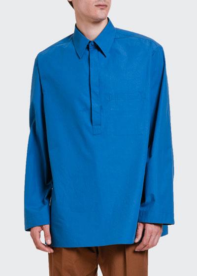 Men's Oversized Pullover Long-Sleeve Tunic