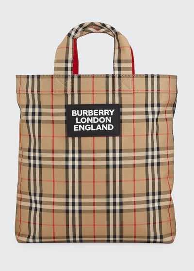 Men's Vintage Check Logo Tote Bag
