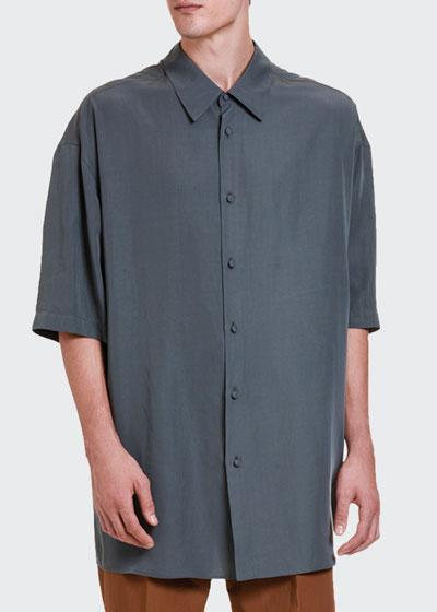 Men's Oversized Short-Sleeve Sport Shirt