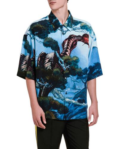 Men's Dragon's Garden Silk Short-Sleeve Sport Shirt