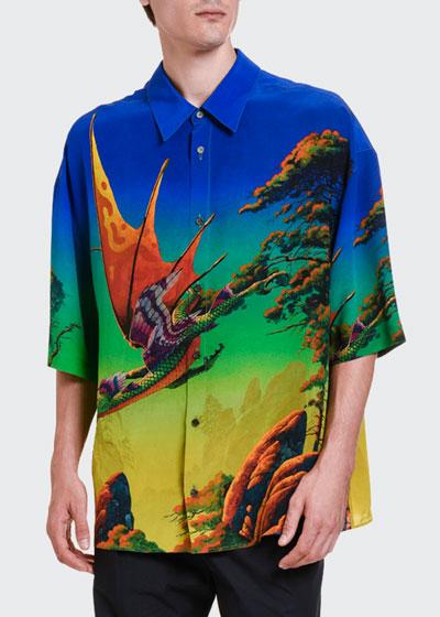 Men's Dragons At Dawn Silk Short-Sleeve Sport Shirt
