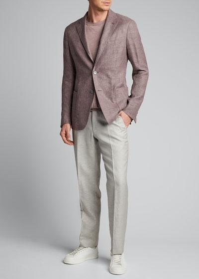 Men's Hopsack Linen Two-Button Jacket