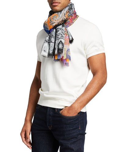Men's Multipattern Linen Scarf