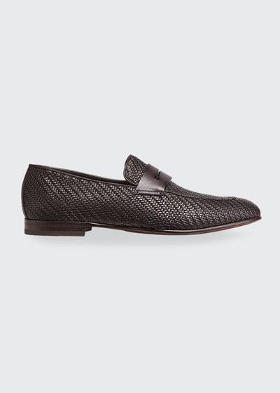 Men's Pelle Tessuta Leather Penny Loafers
