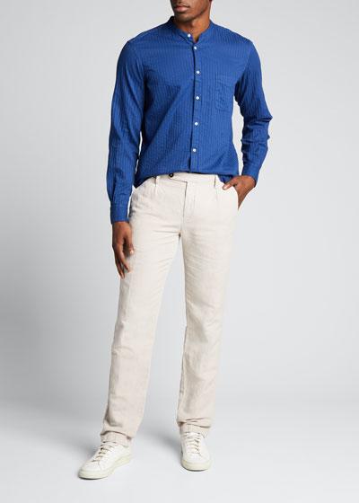 Men's Banded-Collar Striped Sport Shirt