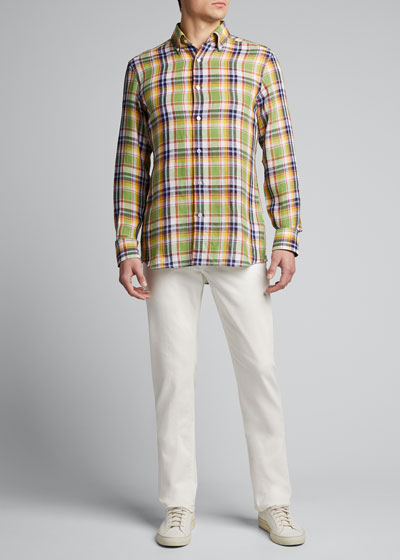 Men's Madras Plaid Linen Sport Shirt