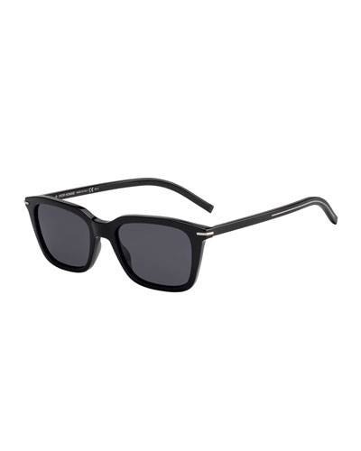 Men's Blacktie Rectangle Acetate Sunglasses w/ Metal Detail