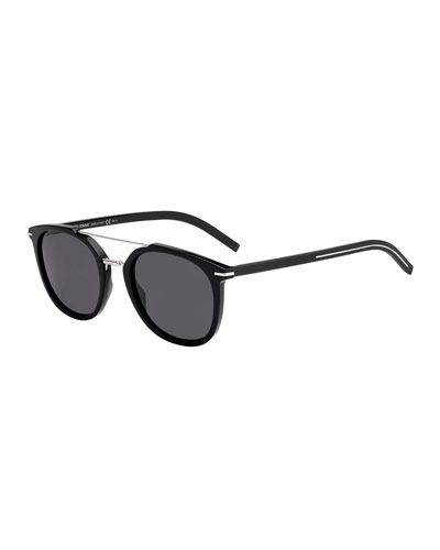 Men's Blacktie Round Acetate/Metal Sunglasses