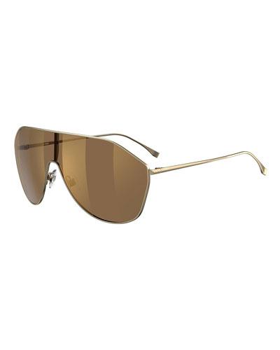 Men's Mirrored Two-Tone Lens Shield Sunglasses
