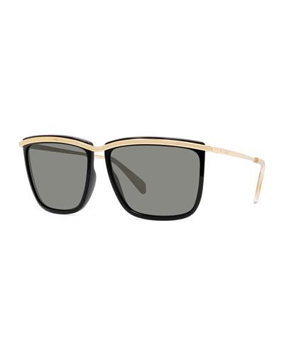 Men's Two-Tone Square Metal Sunglasses