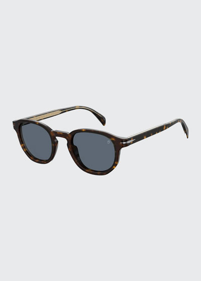 Men's Round Havana Acetate Sunglasses