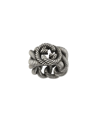 Men's Interlocking G Sterling Silver Gourmette Ring, Size 10.5