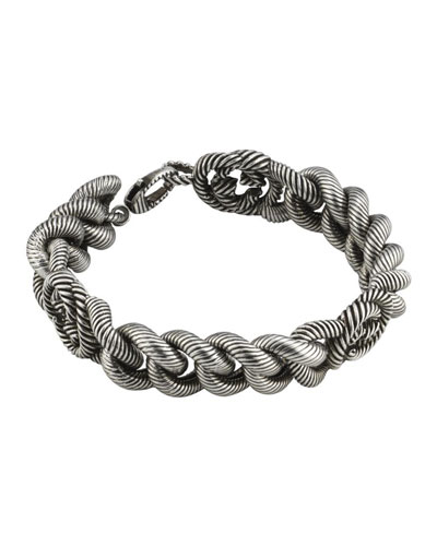Men's Interlocking G Sterling Silver Gourmette Bracelet