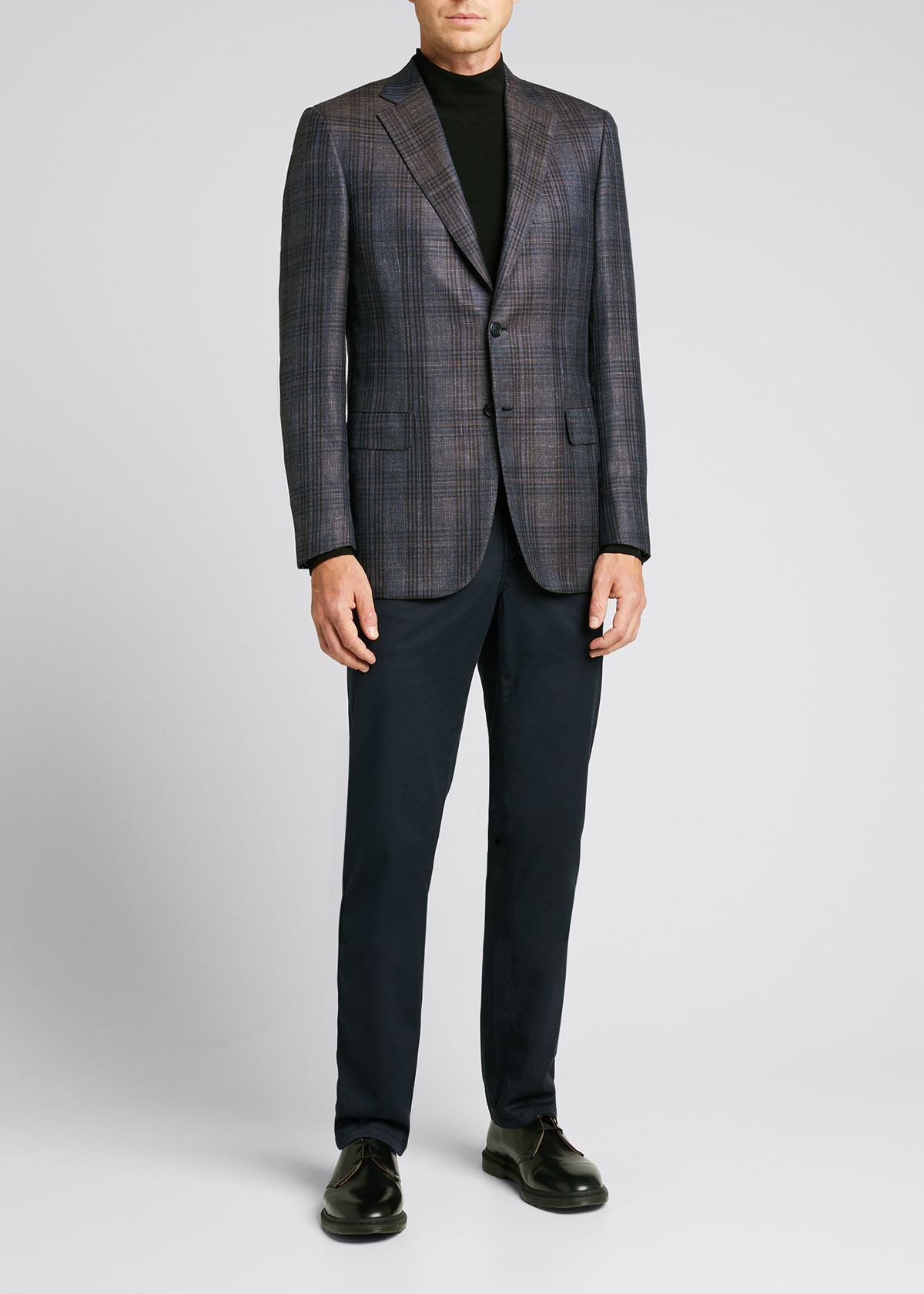 Brioni Men's Glen Plaid Single-breasted Wool, Cashmere & Silk Jacket In Navy