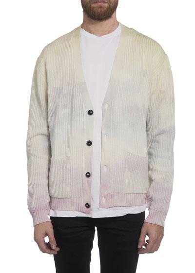 Men's Watercolor-Print Cardigan Sweater