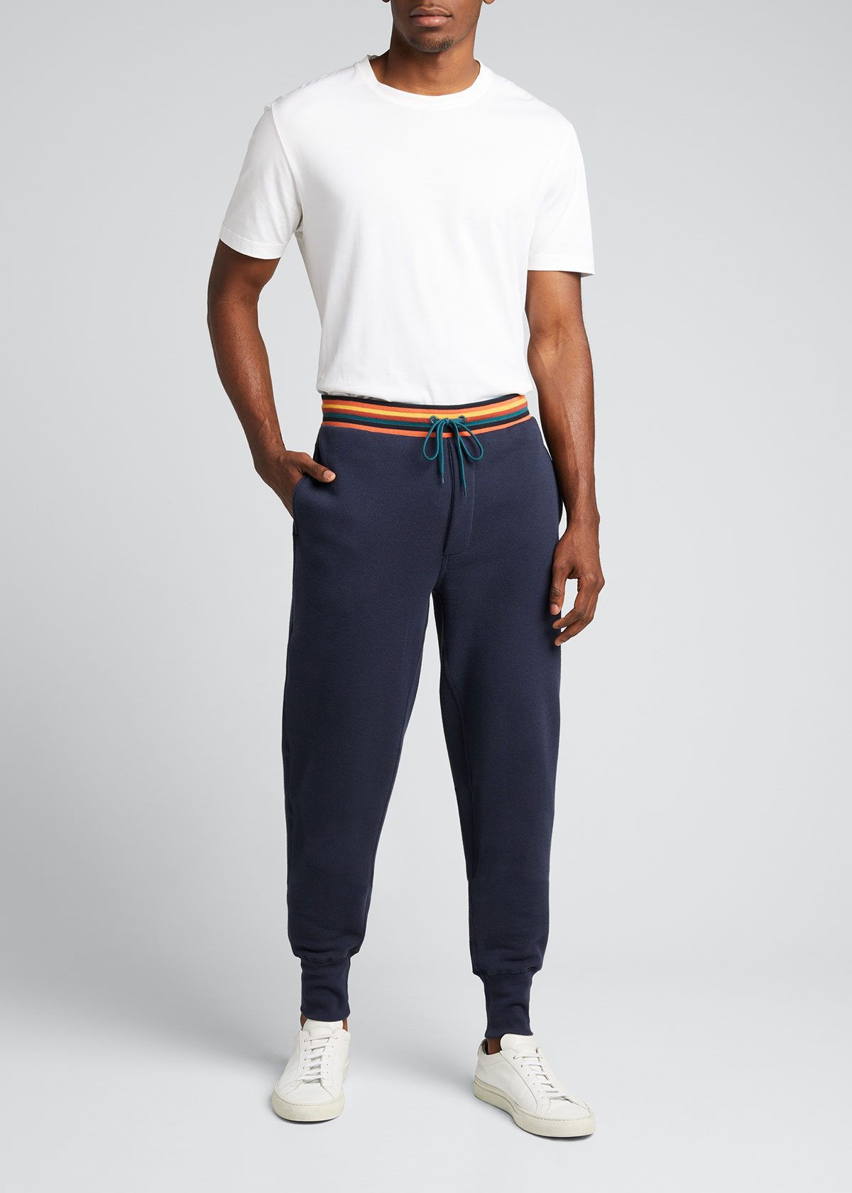 Paul Smith MEN'S JERSEY JOGGER PANTS W/ STRIPED WAIST