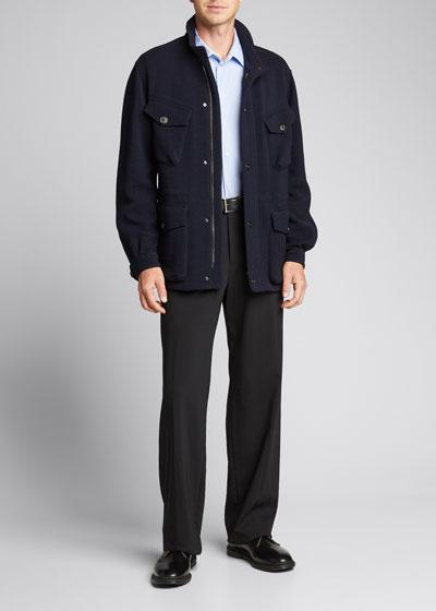 Men's Herringbone Wool-Blend Field Jacket