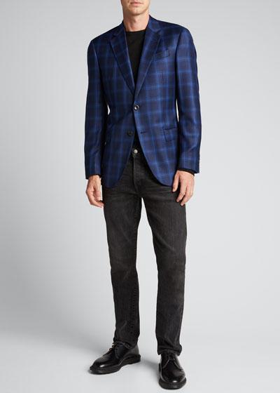 Men's Tonal Windowpane Wool Sport Jacket