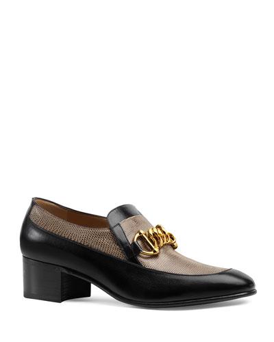 Men's Ebal Horsebit Leather & Lizard Loafers