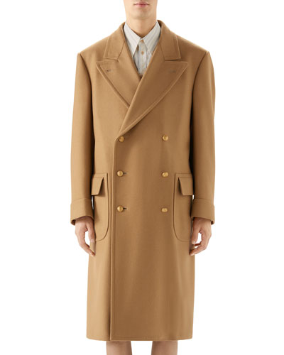 Men's Double-Breasted Camel Coat
