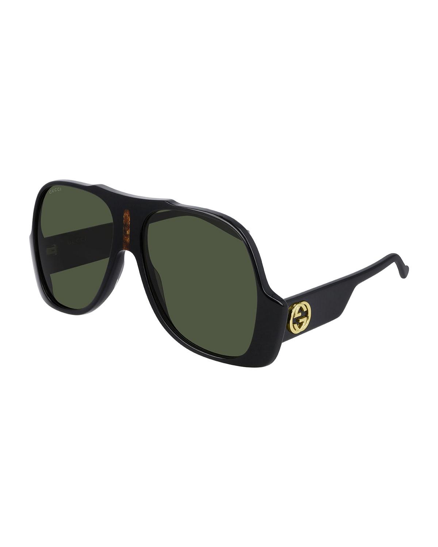 Gucci MEN'S GG0785S UPSIDE-DOWN AVIATOR SUNGLASSES