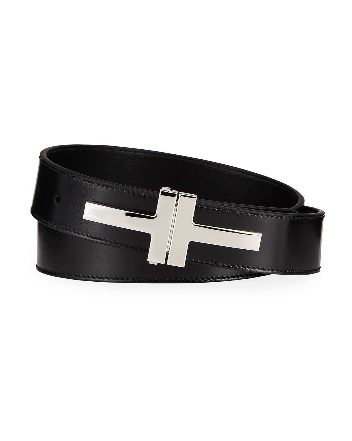 Tom Ford MEN'S DOUBLE T LEATHER BELT