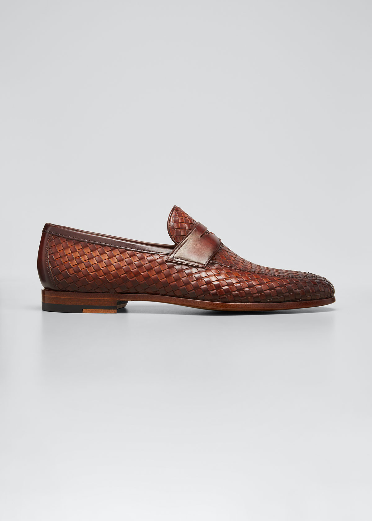 Magnanni MEN'S WOVEN LEATHER PENNY LOAFERS