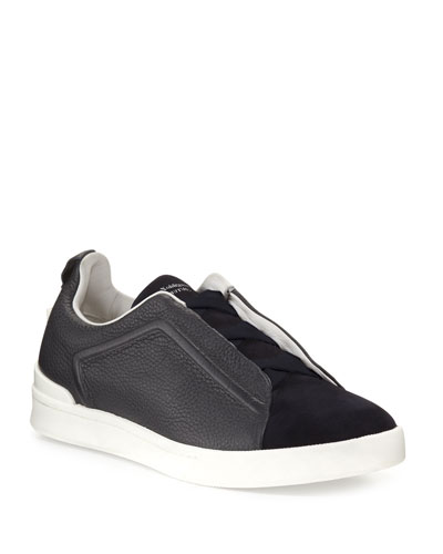 Men's Couture Triple-Stitch Leather & Suede Low-Top Sneakers, Navy