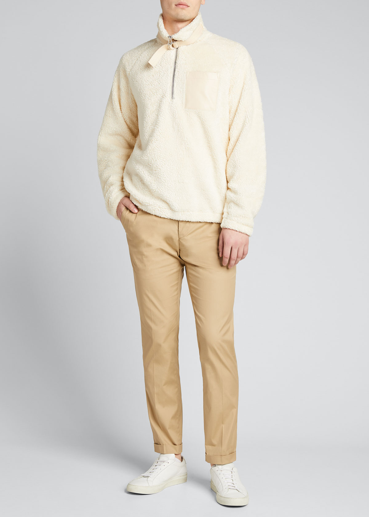 Helmut Lang MEN'S SHERPA BELTED-COLLAR PULLOVER SWEATER