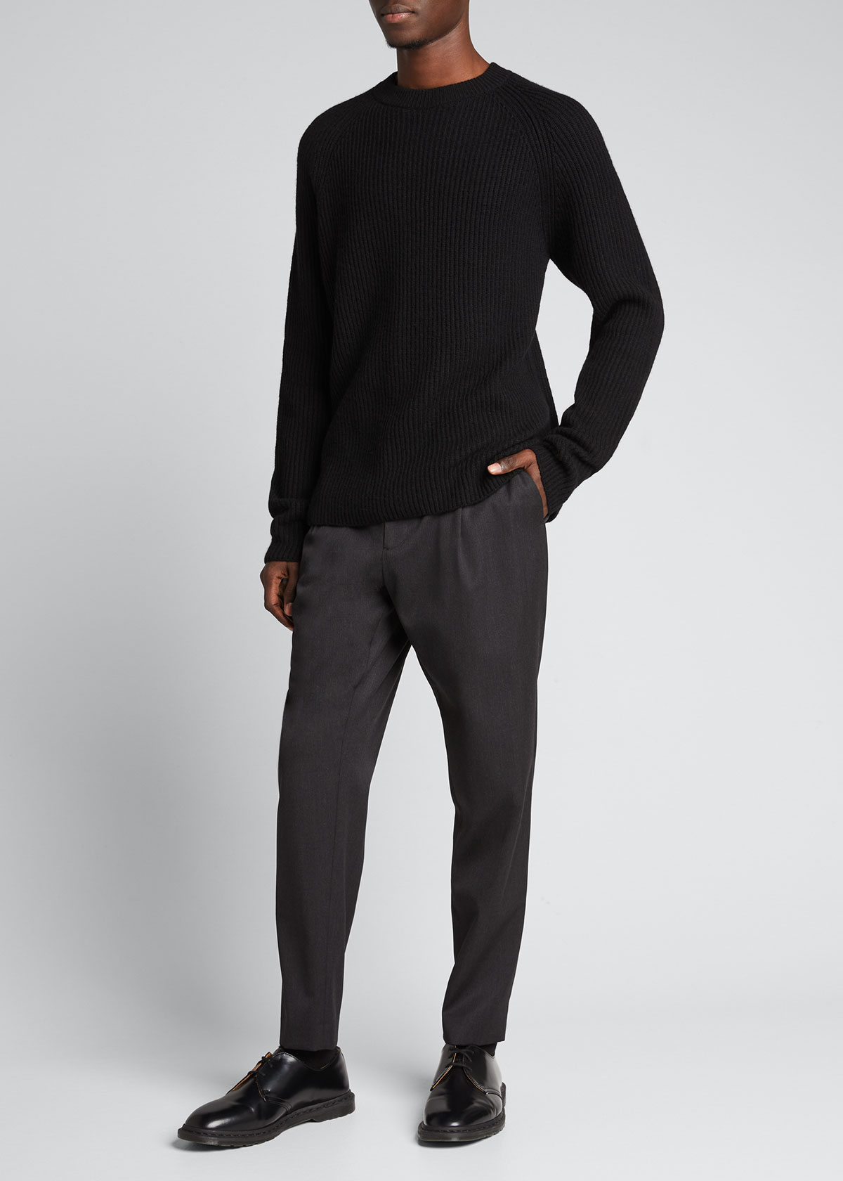The Row MEN'S THIERRY SOLID RIBBED CREW SWEATER
