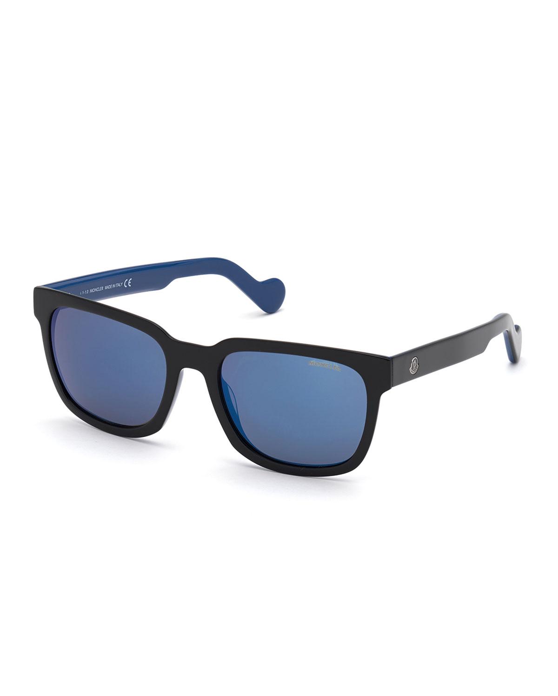 Moncler MEN'S SQUARE PLASTIC SUNGLASSES, BLACK/BLUE
