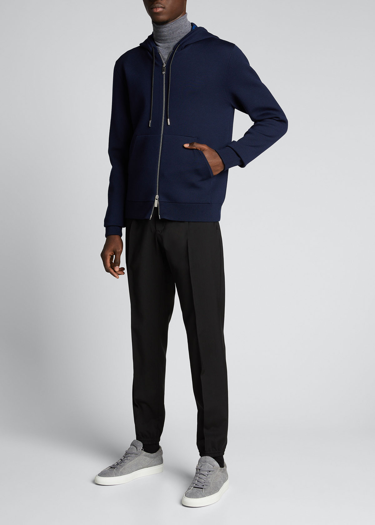 Berluti MEN'S SOLID KNIT FULL-ZIP HOODIE