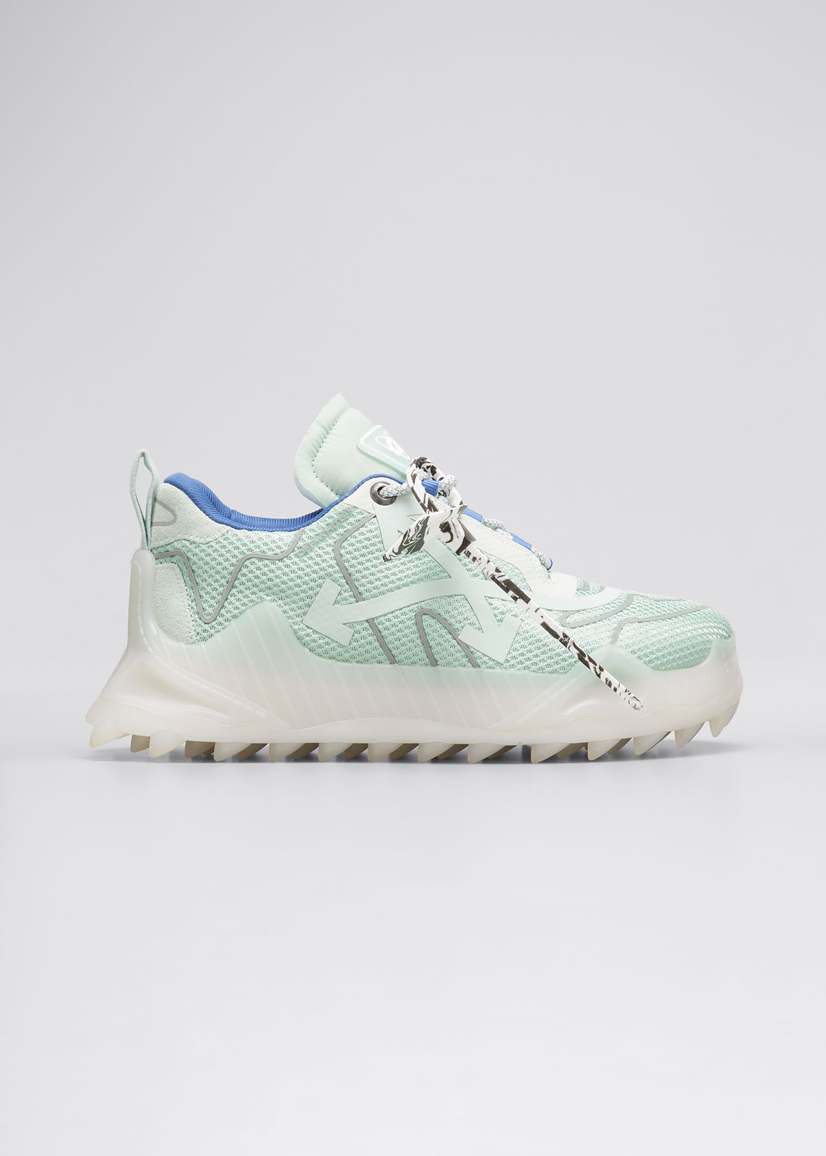Off-White MEN'S ODSY-1000 OUTLINE SCULPTED-SOLE SNEAKERS, MINT SILVER