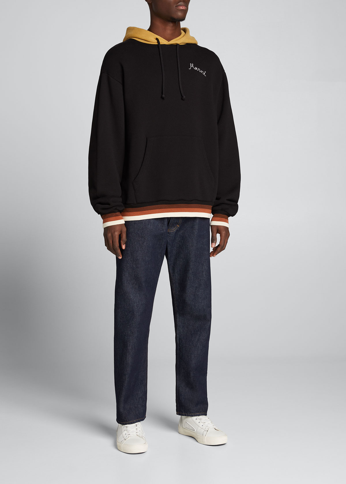 Marni MEN'S SWEAT HOODIE WITH RETRO BANDS