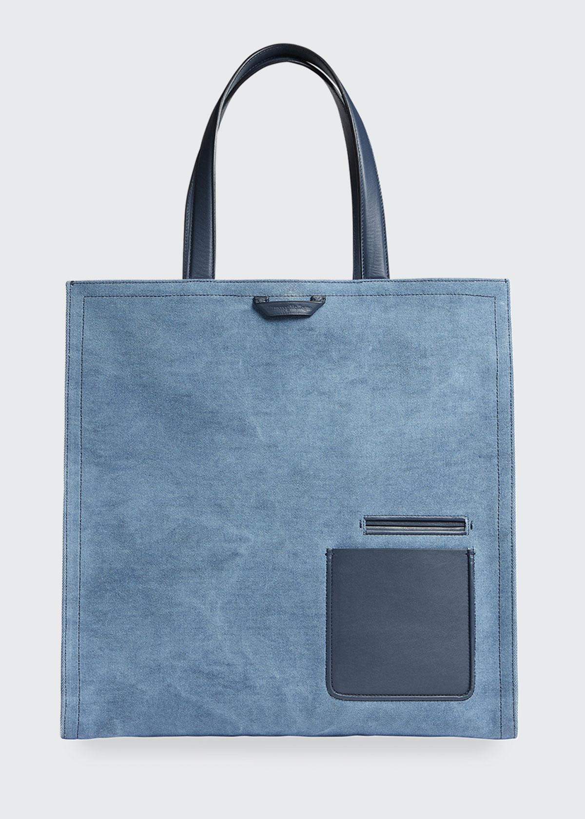 Ermenegildo Zegna Men's Blazer Canvas Tote Bag In Blue