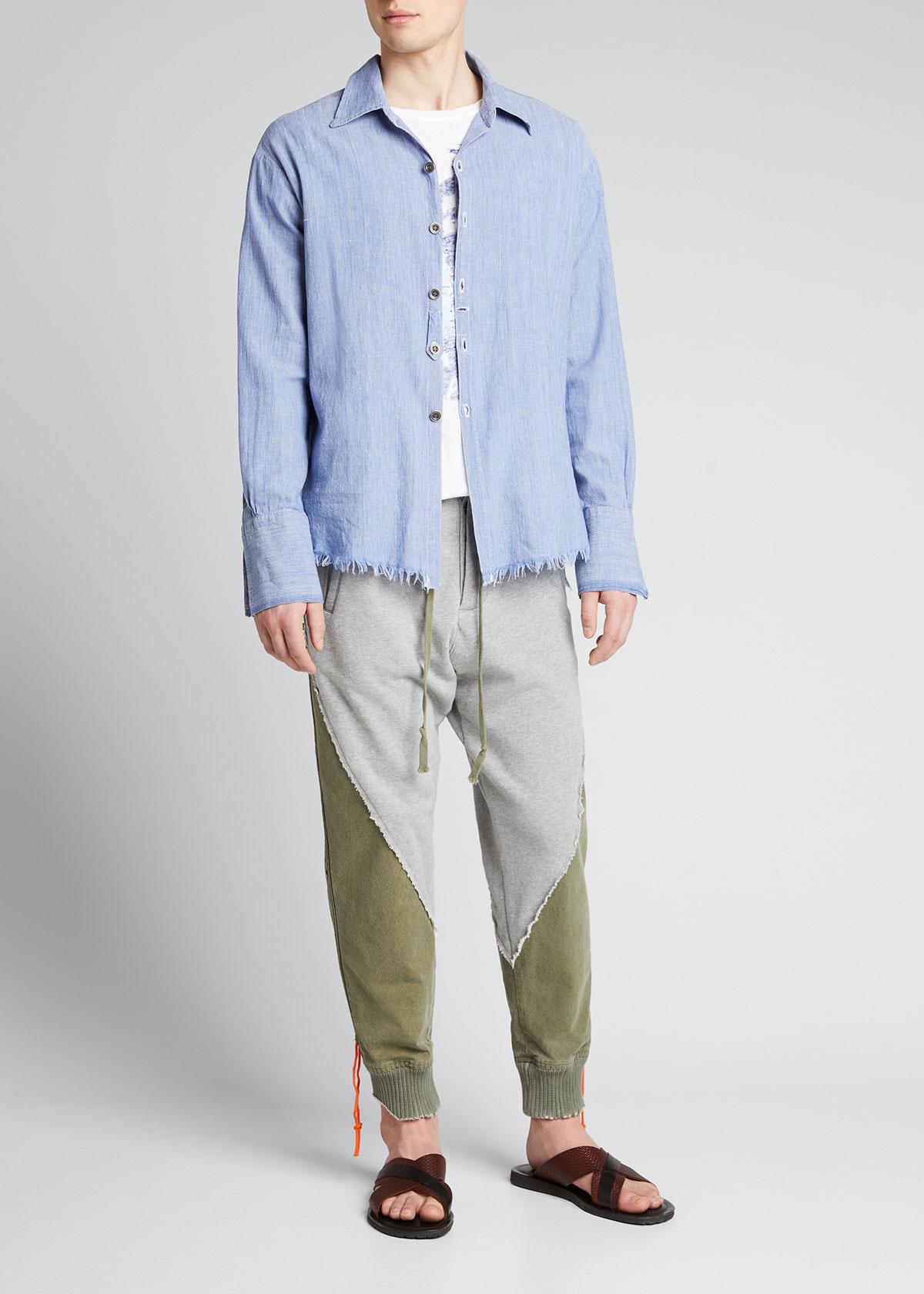 Greg Lauren MEN'S CHAMBRAY RAW-EDGE DRESS SHIRT