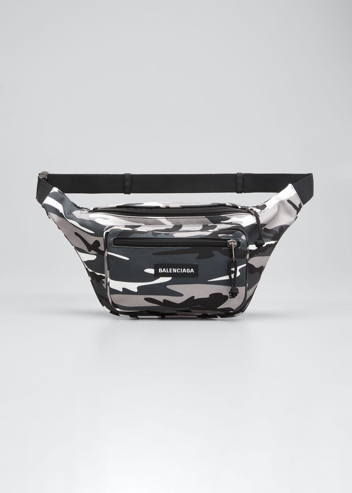 Balenciaga MEN'S EXPLORER CAMO NYLON BELT BAG